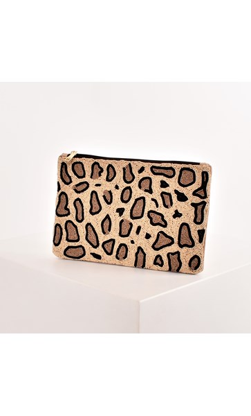 Beaded Leopard Print Zip Top Clutch