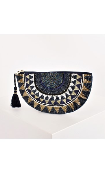Beaded Crescent Zip Top Tassel Pouch