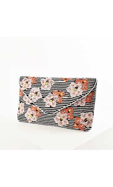 Pippa Beaded Pansies & Stripe Clutch