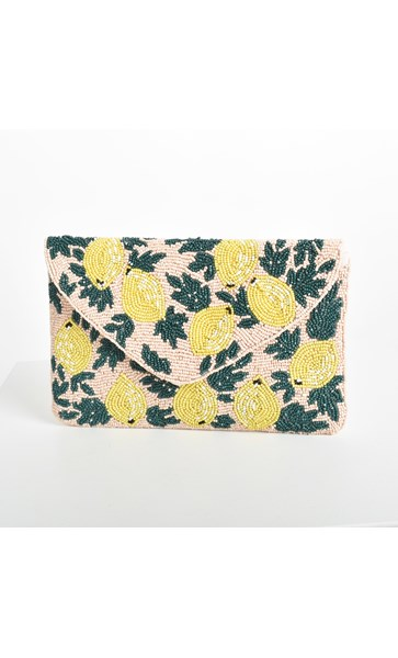 When Life Gives You Lemons Beaded Clutch