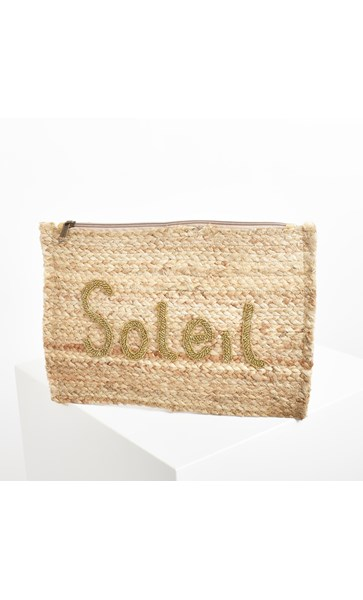 Soleil Beaded Natural Weave Clutch