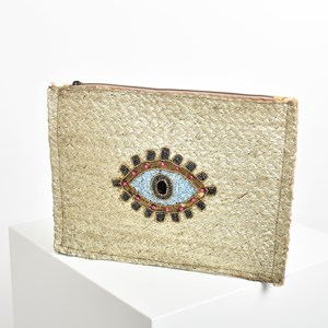Evil Eye Metallic Weave Fringe Clutch