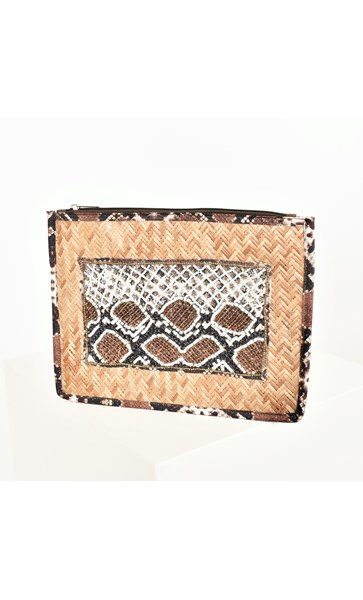 Beaded Reptile Panel Rattan Clutch