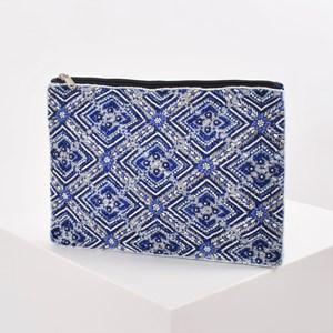 Moroccan Tile Beaded Zip Top Clutch