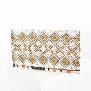 Hastings Beaded Rattan Fold Over Clutch