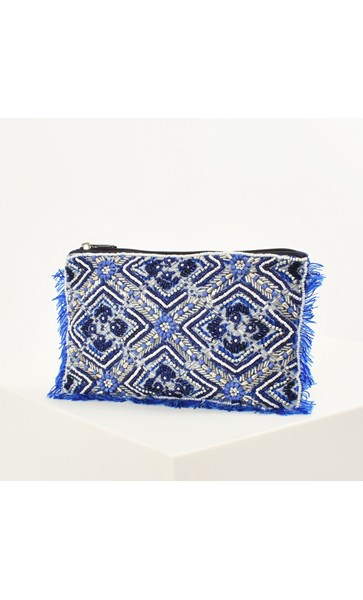 Moroccan Tile Beaded Fringe Edge Pouch