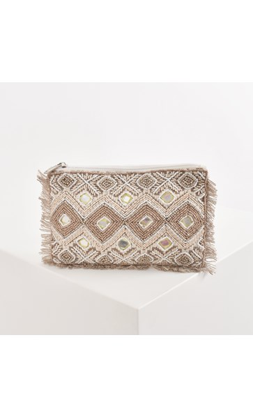 Chevron Mirrored & Beaded Fringe Edge Pouch