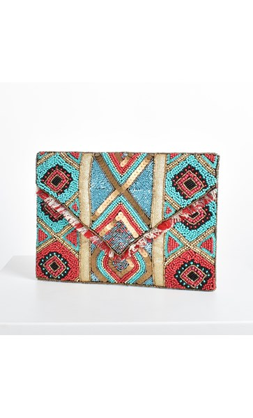 Diamond Beaded Fringe Edge Fold Over Clutch