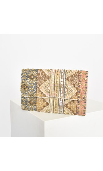 Aphrodite Beaded Fold Over Baguette Clutch