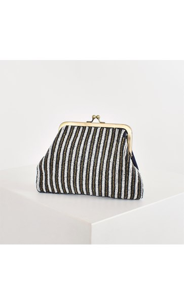Beaded Stripes Framed Purse Clutch