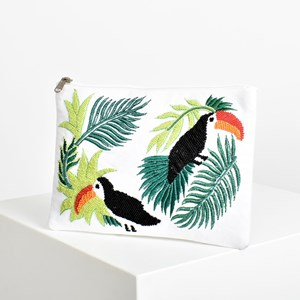 Beaded Toucan Front Clutch