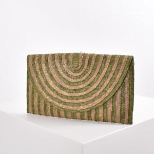 Stripe Natural Weave Clutch