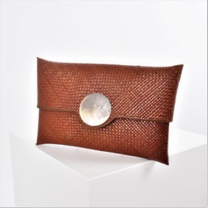 Rattan Weave Open Clutch with Shell