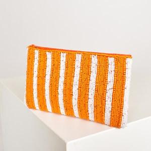 Stripe Beaded Pouch