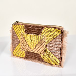 Beaded Fringe Zip Top Pouch