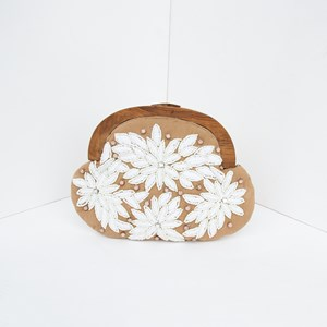 Embroidered Daisies Timber Frame Clutch