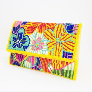 Beaded Flower Party Foldover Clutch
