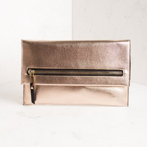 Large Zip Front Flapover Textured Clutch