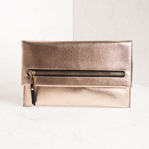 Large Zip Front Flapover Textured Clutch