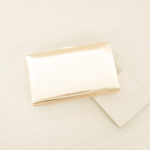 Metallic Structured Metal Frame Clutch