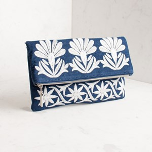 Embroidered Floral Flap Over Clutch