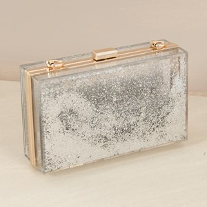 Glitter Snow Globe Clear Structured Clutch