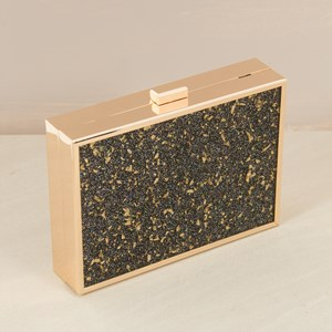 Gold Flakes Metal Frame Structured Clutch