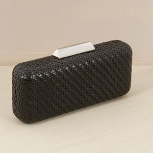 Woven Self Frame Structured Rectangle Clutch