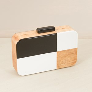 Resin & Timber Structured Box Clutch