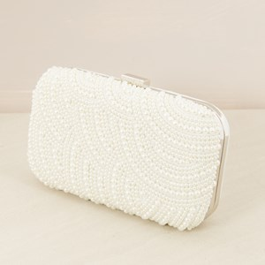 Pearl Embellished Rectangle Structured Clutch
