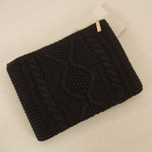 Cable Knit Zip Top Clutch