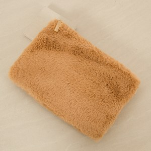 Plush Faux Fur Zip Top Clutch
