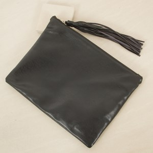 Super Soft Zip Top Large Tassel Clutch
