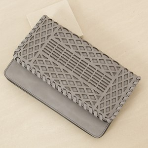 Cut out Fold over Woven Edge Clutch