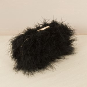 Fluffy Feather Curved Clutch