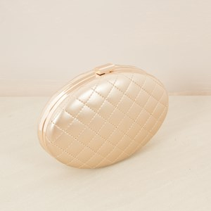 Oval Diamond Stitched Clutch
