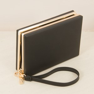 Rectangle Zipper Metal Frame Clutch