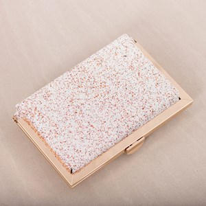 Textured Glitter Raised Metal Edge Framed Clutch