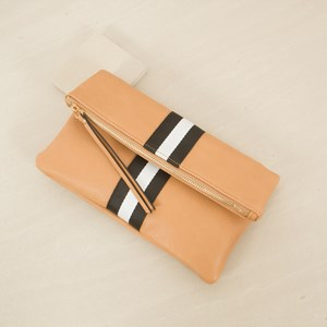 Zip Fold over Clutch with Webbing Stripe