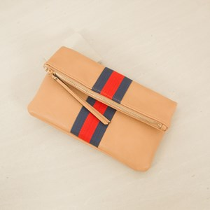 Zip Fold over Clutch with Webbing Stripe