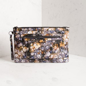 Floral Zip Front Oversized Clutch