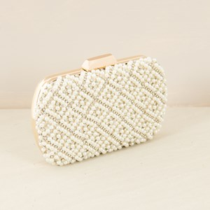 Pearl & Diamante Lattice Structured Clutch