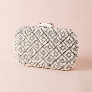 Pearl & Diamante Lattice Structured Clutch