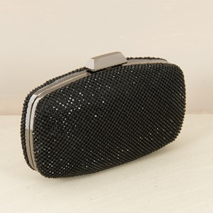 Diamante Bar Closure Structured Clutch