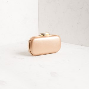 Rounded Rectangle Two Tone Structured Clutch