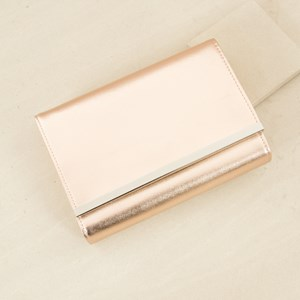 Textured Metal Bar Slim Fold Over Small Bag