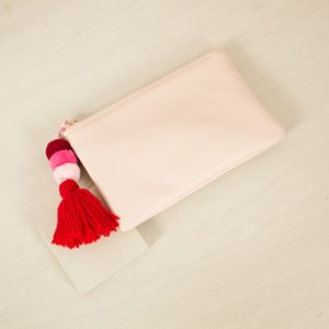 Pom Pom & Tassel Zip Top Purse