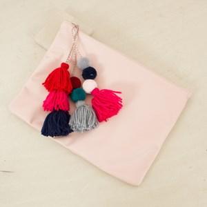 XL Pom Pom & Tassel Soft Slouch Clutch
