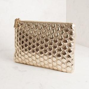 Metallic Hexagon Stitch Clutch