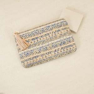 Metallic & Denim Aztec Tassel Zip Top Clutch